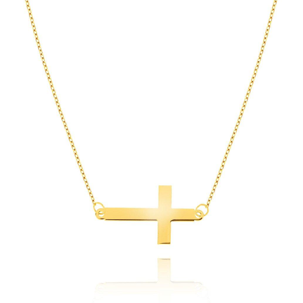 Naszyjnik złoty krzyżyk poziomy 333 celebrytka z krzyżykiem